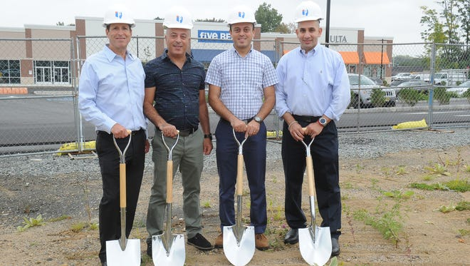 At the Nov. 29, 2017 groundbreaking for IHOP and Mangiamo's Italian eatery at Hanover Crossroads in Cedar Knolls, from left, Marc Schlussel, Hani and Shrief Ghobrial, co-owners of Mangiamo's, and Sobhy Abdelhady, IHOP franchisee.
