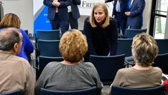Mayor Megan Barry talks to people at Old Hickory Towers