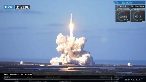 Launch of SpaceX Falcon Heavy rocket Feb. 6, 2018.