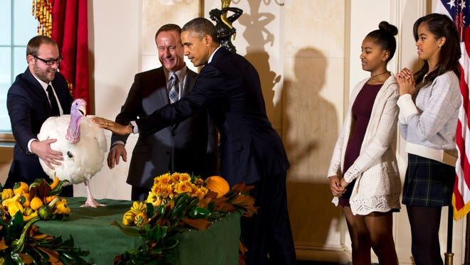 "President Barack Obama, with daughters Sasha (second from right) and Malia (right), reaches out to touch ""Cheese"" after pardoning the turkey as part of the annual Thanksgiving tradition on Nov. 26, 2014, at the White House in Washington."