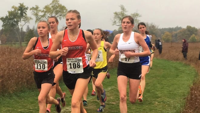 Pinckney's Vivi Eddings (110) and Noelle Adriaens (108) and Brighton's Lindsey Murrell (17) run in the regional cross country meet.