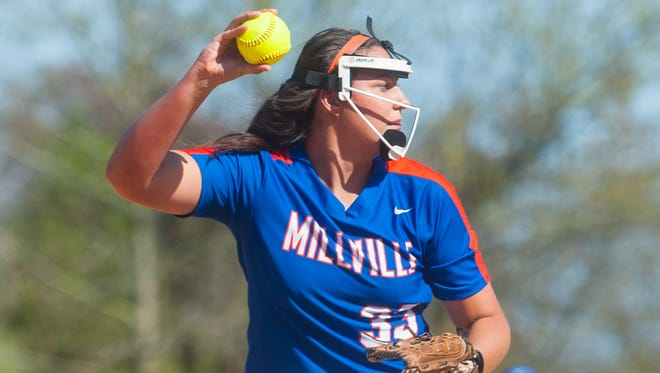 Millville senior Sydney Shannon throws to first in Tuesday's 3-2 loss to Vineland. Shannon, a four-year starter and team leader, sustained a knee injury in the game.