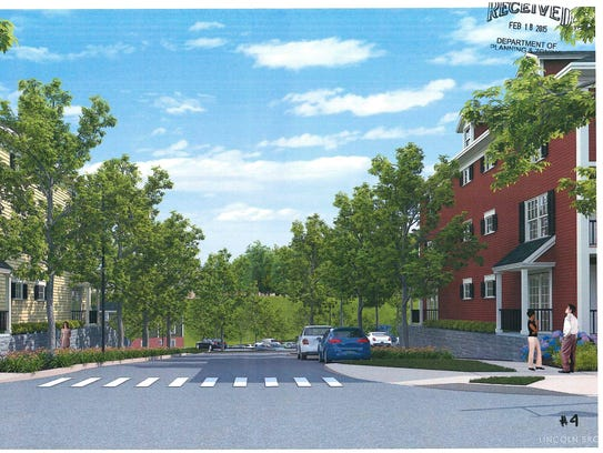 A rendering of apartment buildings in a new 232-unit