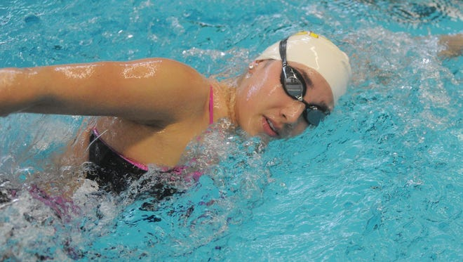 Senior Ellyse Conn had three first-place swims, including one in the 400-yard freestyle relay.