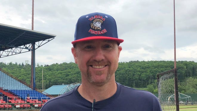 Elmira Pioneers manager Matt Burch at Dunn Field on May 31, 2018.
