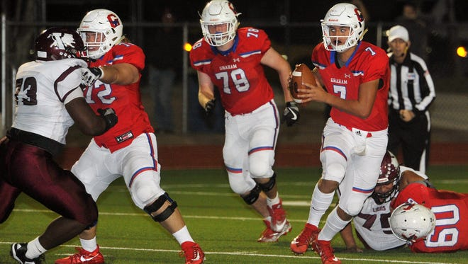 Garrison Stovall (72), Jack Mercer (78) and Gustavo Ramirez (60) have helped keep Graham quarterback Tucker Horn (7) upright during the Steers' perfect season.