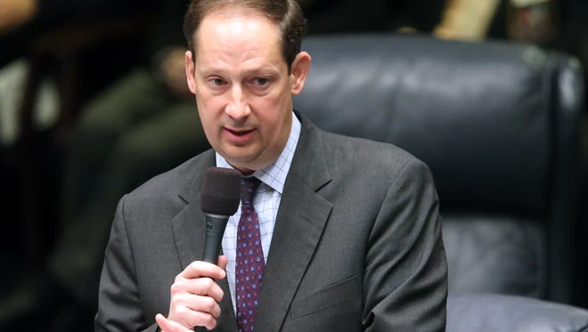 Sen.Joe Negron, R-Stuart, explains a Department of Corrections bill during session, Friday, March 11, 2016, in Tallahassee, Fla.