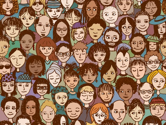 Colorful seamless pattern of a crowd of people, hand drawn