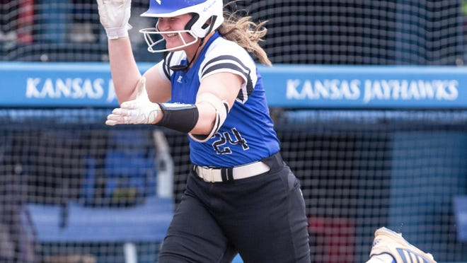 Washburn Rural's Olivia Bruno rounds the bases after hitting a home run during the 2019 Class 6A state softball tournament. Bruno was scheduled to sign a Division I letter of intent with Kansas on Wednesday.