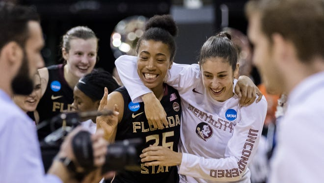 Florida State center Ama Degbeon (25) and teammates celebrate the win over Oregon State in the semifinals of the Stockton Regional of the women's 2017 NCAA Tournament at Stockton Arena.