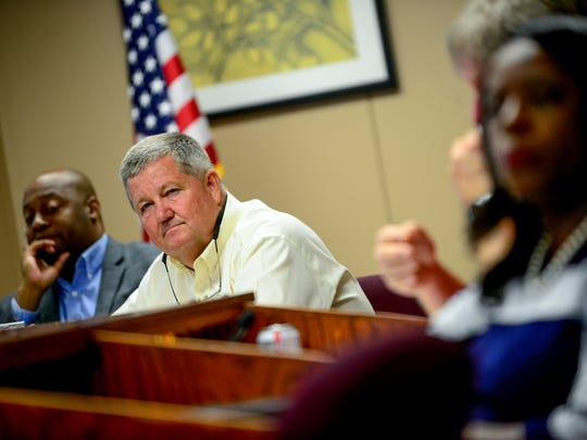 Bob Alvey listens to speakers at a board meeting at Jackson-Madison County Board of Education in Jackson, Tenn., Thursday, Aug. 9, 2018.