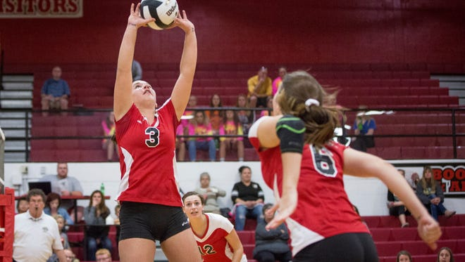 Wapahani's Lexi Spence sets up the attack against Lapel Tuesday evening during the IHSAA sectional volleyball game. Wapahani took the match 3-0.