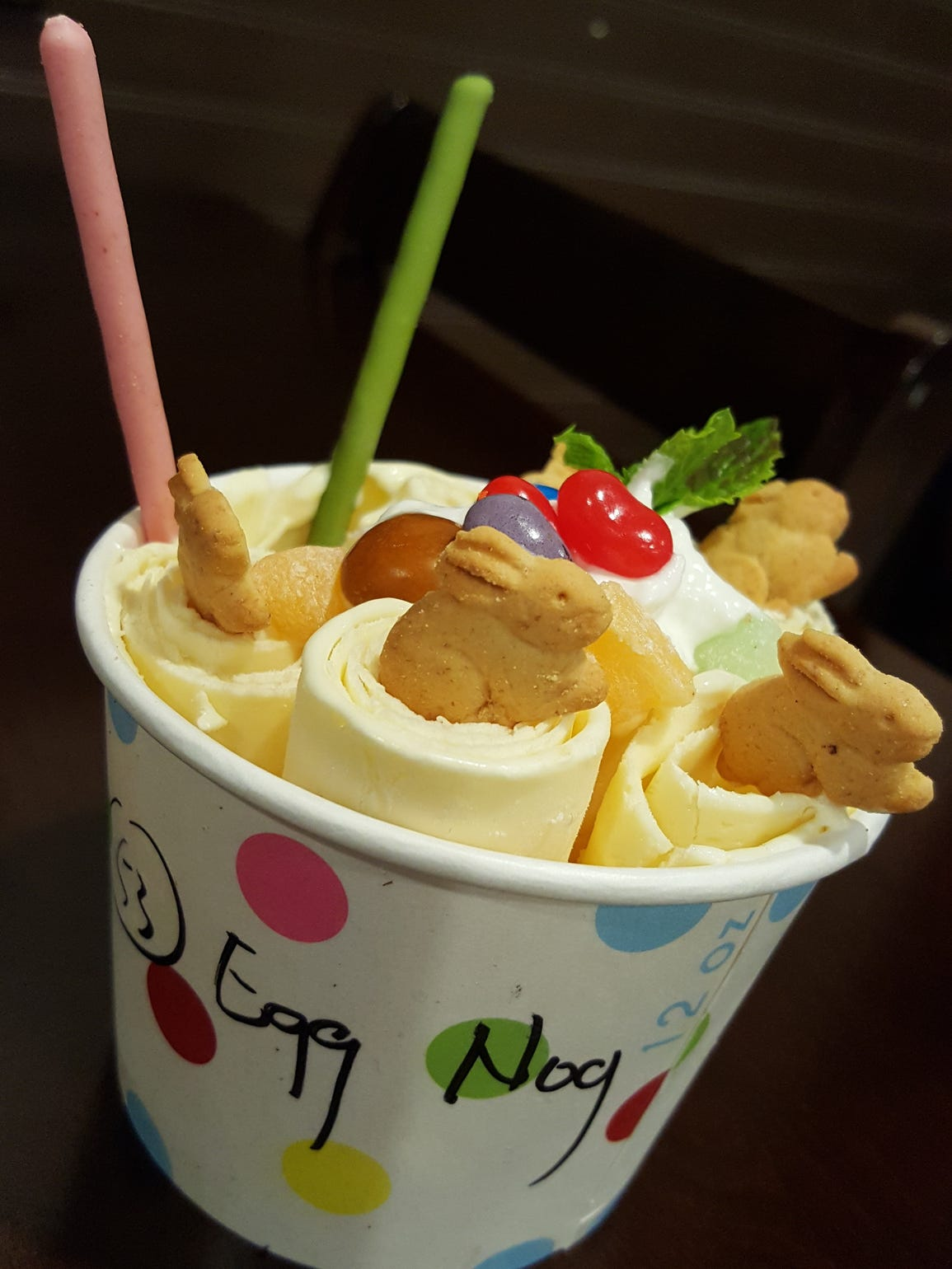 Eggnog-flavored rolling ice cream ($6.29) at Icy Summers