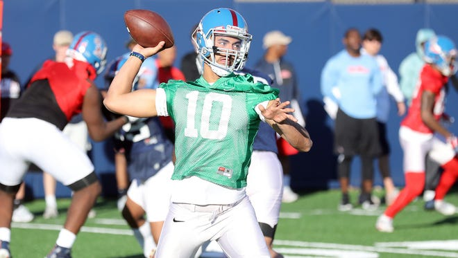 Ole Miss' coaching staff likes backup quarterback Jordan Ta'amu's athleticism and accuracy, but wants to see a heightened sense of urgency from him in the pocket.