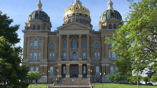 The north side of the Iowa Capitol in Des Moines along Grand Avenue.