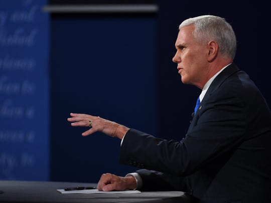 Indiana Gov. Mike Pence speaks during the vice presidential