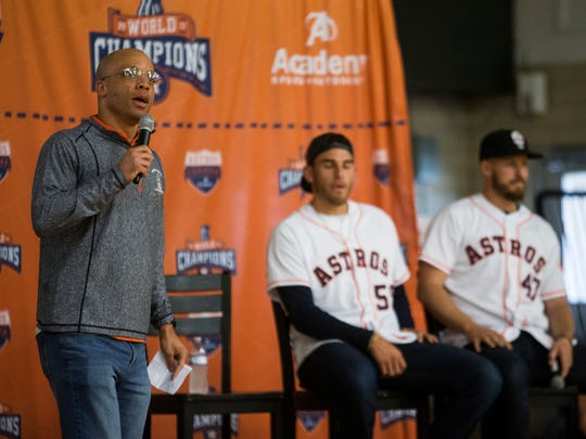 Houston Astros radio broadcaster Robert Ford speaks to students during a Astros Caravan  event on Thursday, Jan. 11, 2018 at Rockport-Fulton High School.