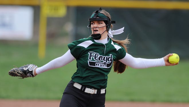 Floyd Central's Abbey Letson pitches against Avon in the first game of a double-header on Saturday at Floyd Central High School. (Photo by David Lee Hartlage, Special to The Courier-Journal) April 1, 2017