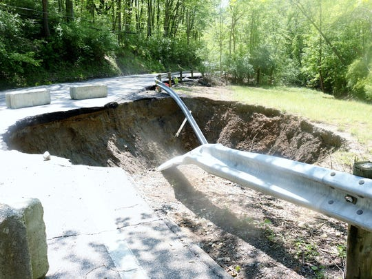 A culvert took part of Van Blaricum Road with it when
