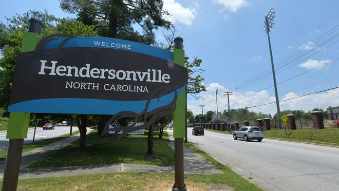 A sign welcomes visitors to Hendersonville on the north end of town near the Hendersonville Fire Department.