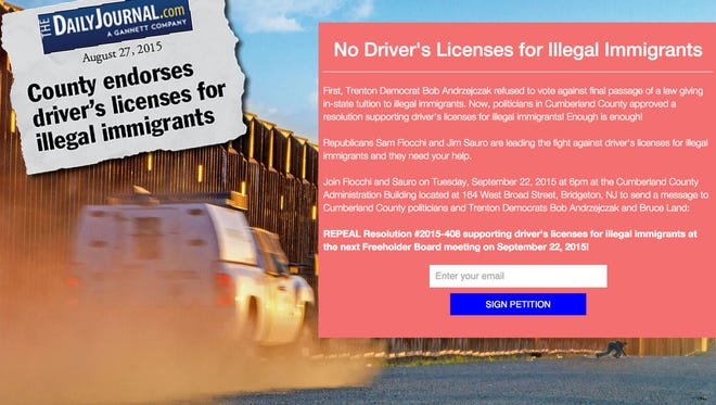 The website for a petition drive seeking residents' support for reversing Cumberland County Board of Freeholders' support of a state bill authorizing driver's licenses for illegal immigrants.