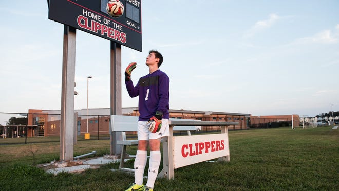 JMB goalkeeper Connor Banks poses for a photo at James M. Bennett High School on College Avenue in Salisbury.