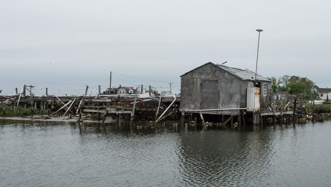 A view of a crab shack near Rhodes Point on Smith Island on Wednesday, May 17, 2016.
