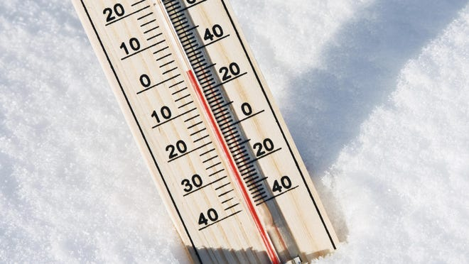 wooden thermometer in the snow