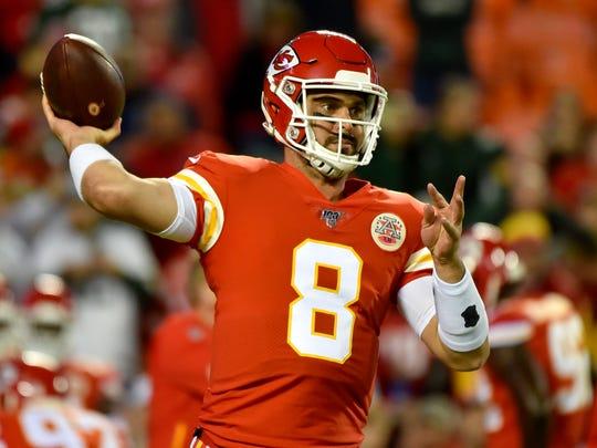 Kansas City Chiefs quarterback Matt Moore (8) warms up before an NFL football game against the Green Bay Packers in Kansas City, Mo., Sunday, Oct. 27, 2019. (AP Photo/Ed Zurga)