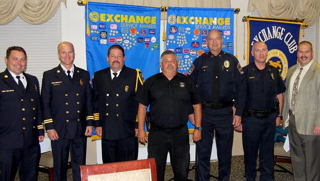 The Exchange Club of Hanover recently recognized the following first responders, from left: Charles Amspacher, Hanover Fire Department; Geoff Miller, Penn Township Fire and Rescue; Miles Morris, Pleasant Hill Fire Department; Tim Hippensteel, West Manheim Police Department; Greg Bean and Jamie Stalcup, Southwestern Regional Police Department; and Guy Hettinger and Jeffrey Sneeringer, Penn Township Police Department.