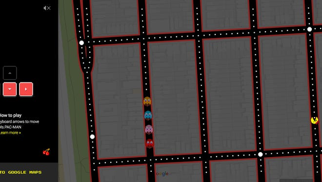 A screenshot of 'Ms. Pac-Man' played on a map of downtown San Francisco, thanks to Google Maps.