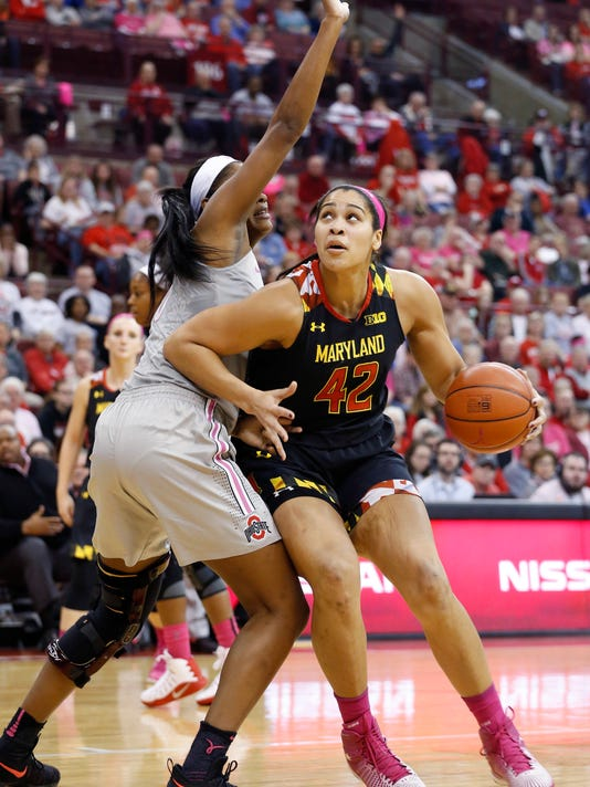 Maryland's Brionna Jones, right, posts up against Ohio State's Tori McCoy during the first half of an NCAA college basketball game Monday, Feb. 20, 2017, in Columbus, Ohio. (AP Photo/Jay LaPrete)