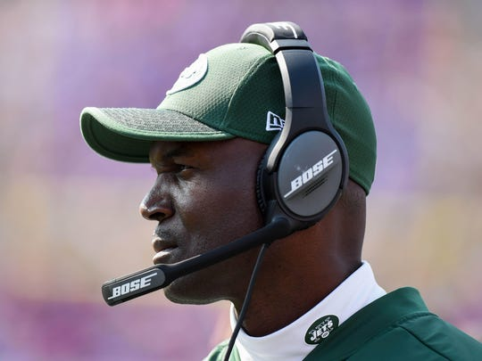 Sep 10, 2017; Orchard Park, NY, USA; New York Jets head coach Todd Bowles looks on a Buffalo Bills during the fourth quarter at New Era Field. Mandatory Credit: Rich Barnes-USA TODAY Sports