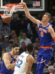 New York Knicks' Kristaps Porzingis (6), of Latvia,