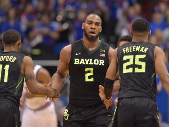 Baylor Bears forward Rico Gathers (2) is congratulated