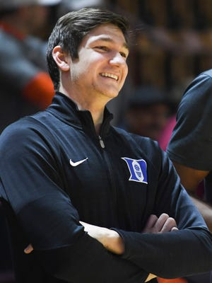 Duke Blue Devils guard Grayson Allen looks on prior to the game against the Virginia Tech Hokies at Cassell Coliseum.