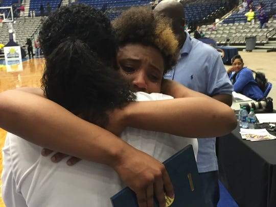 North Caddo's Destiny Rice sheds a tear of joy and