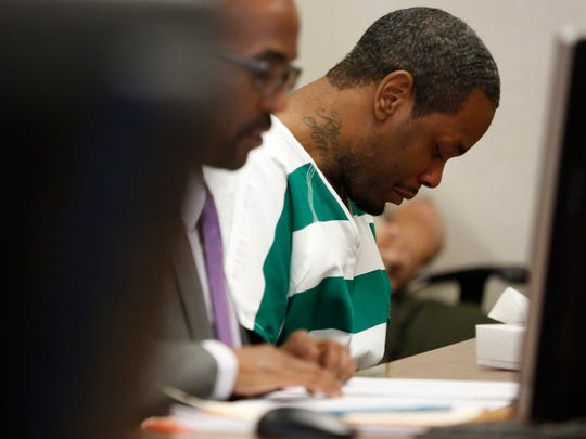 Darnell Allen Browder puts his head down as victims and family members of Jason Hunt read statements to the court Thursday, April 27, 2017, at Browder's sentencing hearing at the Polk County Courthouse in Des Moines. Browder was ordered to serve two consecutive sentences Wednesday after pleading guilty in February to charges of homicide by vehicle-operating while intoxicated and serious injury by vehicle-operating while intoxicated.