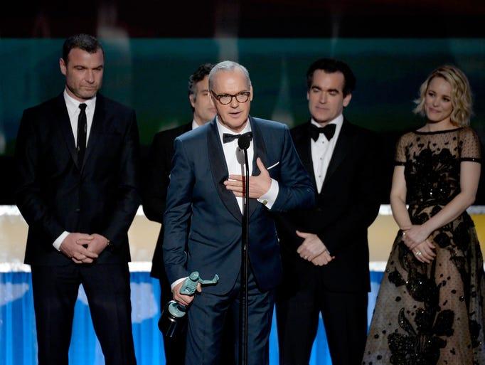Michael Keaton with Liev Schreiber, Mark Ruffalo, Brian