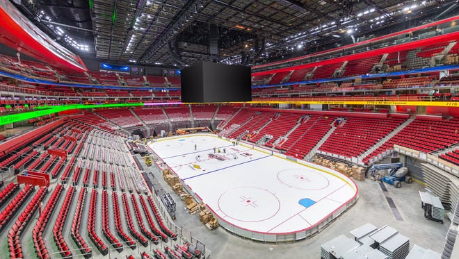 Little Caesars Arena with the Detroit Red Wings' ice rink Aug. 17, 2017, leading up to the arena's opening in September.