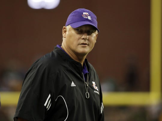 Northwestern State head coach Jay Thomas stands on the sideline during a game against Baylor. The Demons spring game is scheduled for 9:45 a.m. Saturday.