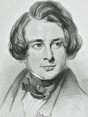 A sketch of 30-year-old Charles Dickens during his American tour in 1842.