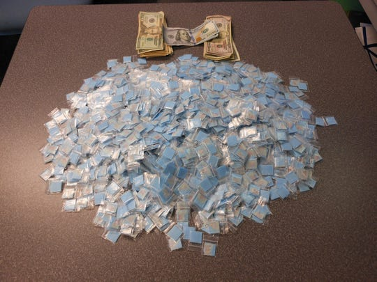 Detectives found 1,949 bags of suspected heroin during the arrest of Torontay T. Mann.