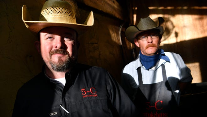Joe Campbell (left) and his brother Steve at 5-C Smokehouse in Clyde on Saturday.  The restaurant will be one of the participants in Tuesday's Taste of Abilene.