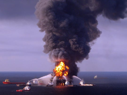 US Coast Guard crews battle the remnants of the BP