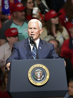 Vice President Mike Pence, during a rally that drew in excess of 7,000 people to North Side Gymnasium, Elkhart, May 10, 2018. Trump and Pence are in town to campaign for midterm elections this Fall.