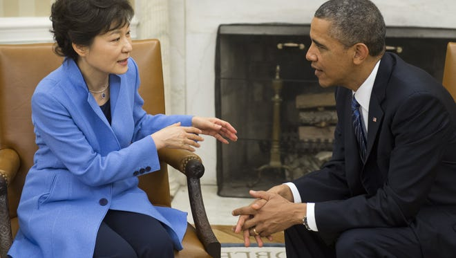 President Obama and South Korean President Park Geun-hye in the Oval Office in 2013.