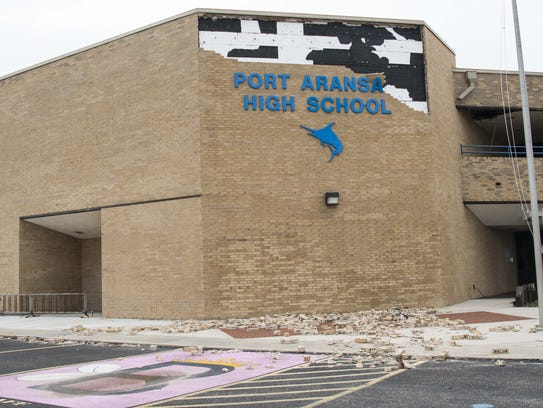 Port Aransas High School was struck by Hurricane Harvey