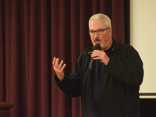 Sparks city councilman Ed Lawson speaks at a town hall