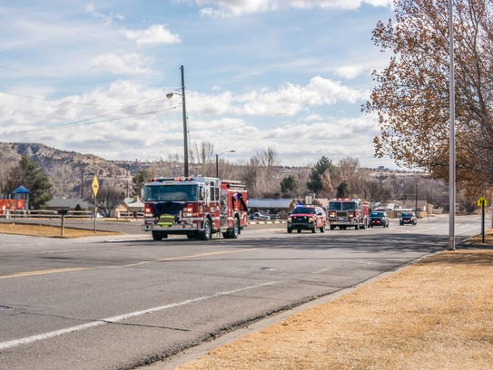 The funeral procession honoring Farmington Fire Department